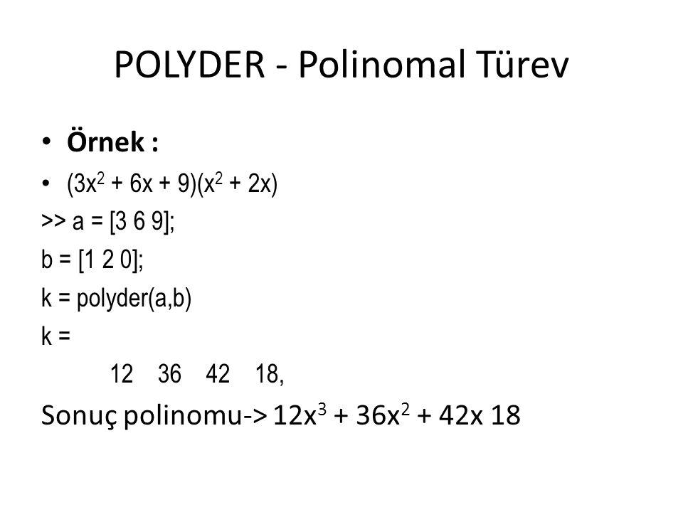 POLYDER - Polinomal Türev Örnek : (3x 2 + 6x + 9)(x 2 + 2x) >> a = [3 6 9]; b = [1 2 0]; k = polyder(a,b) k = 12 36 42 18, Sonuç polinomu-> 12x 3 + 36