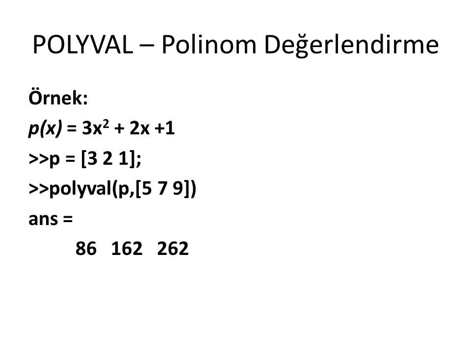 POLYVAL – Polinom Değerlendirme Örnek: p(x) = 3x 2 + 2x +1 >>p = [3 2 1]; >>polyval(p,[5 7 9]) ans = 86 162 262