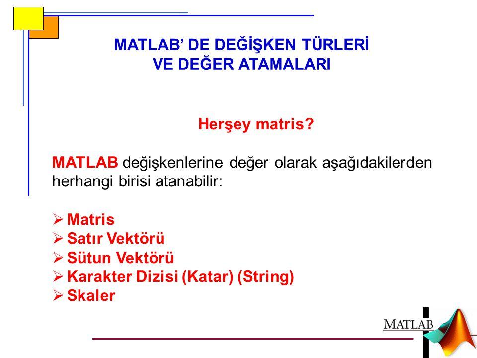 MATLAB' DE DEĞİŞKEN TÜRLERİ VE DEĞER ATAMALARI Herşey matris? MATLAB değişkenlerine değer olarak aşağıdakilerden herhangi birisi atanabilir:  Matris
