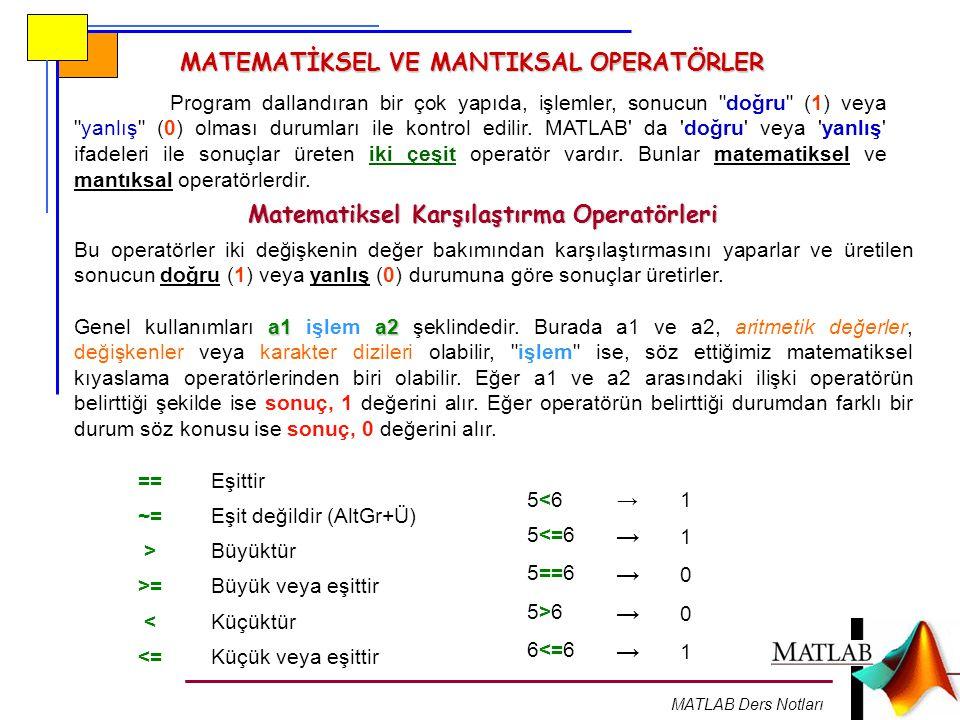 MATLAB Ders Notları MATEMATİKSEL VE MANTIKSAL OPERATÖRLER Program dallandıran bir çok yapıda, işlemler, sonucun