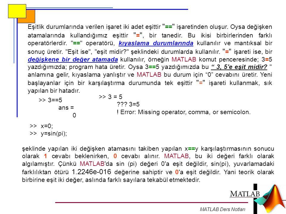 MATLAB Ders Notları Eşitlik durumlarında verilen işaret iki adet eşittir