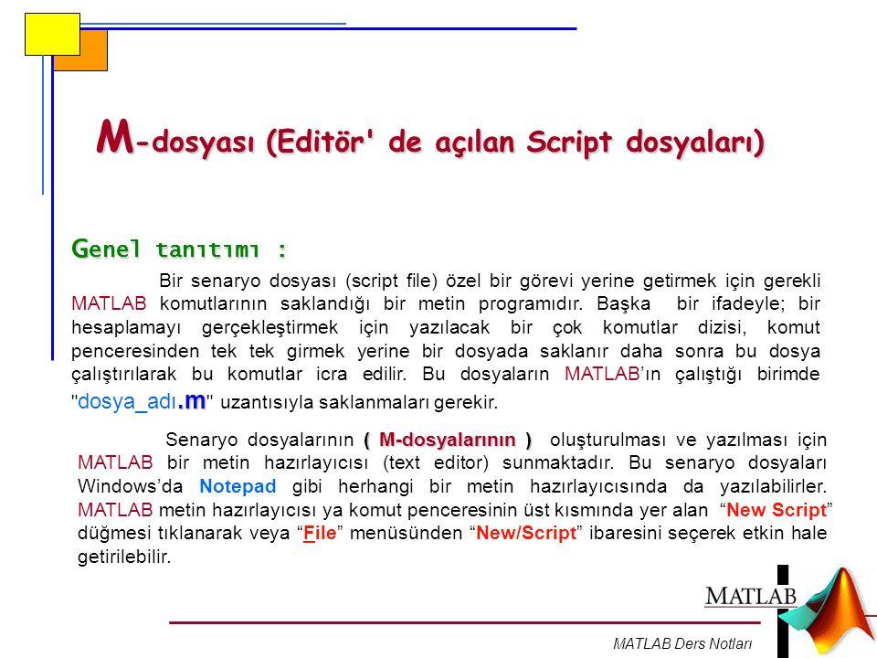 MATLAB Ders Notları M -dosyası (Editör' de açılan Script dosyaları) G enel tanıtımı :.m Bir senaryo dosyası (script file) özel bir görevi yerine getir