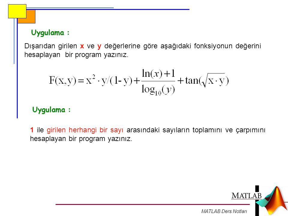 MATLAB Ders Notları Uygulama : Dışarıdan girilen x ve y değerlerine göre aşağıdaki fonksiyonun değerini hesaplayan bir program yazınız. 1 ile girilen
