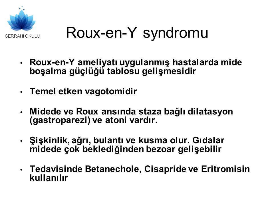 CERRAHİ OKULU Roux-en-Y syndromu Roux-en-Y ameliyatı uygulanmış hastalarda mide boşalma güçlüğü tablosu gelişmesidir Temel etken vagotomidir Midede ve Roux ansında staza bağlı dilatasyon (gastroparezi) ve atoni vardır.