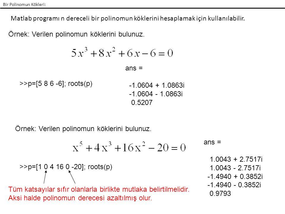 Matlab programı n dereceli bir polinomun köklerini hesaplamak için kullanılabilir. Bir Polinomun Kökleri: Örnek: Verilen polinomun köklerini bulunuz.