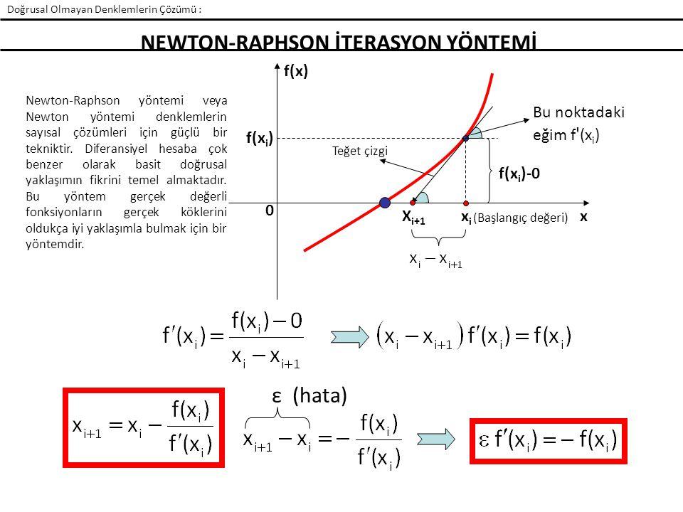 NEWTON-RAPHSON İTERASYON YÖNTEMİ ε (hata) Newton-Raphson yöntemi veya Newton yöntemi denklemlerin sayısal çözümleri için güçlü bir tekniktir. Diferans
