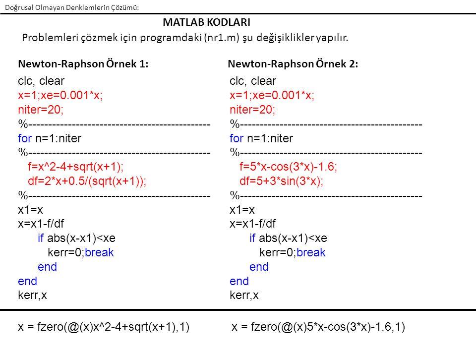 Doğrusal Olmayan Denklemlerin Çözümü: clc, clear x=1;xe=0.001*x; niter=20; %---------------------------------------------- for n=1:niter %------------