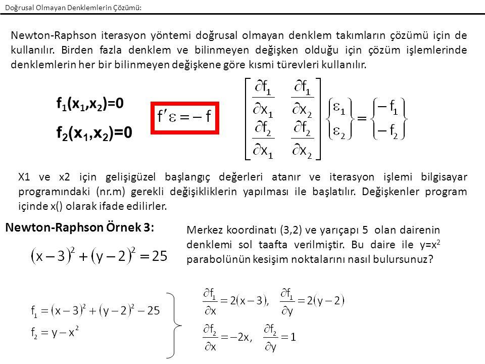 Doğrusal Olmayan Denklemlerin Çözümü: Newton-Raphson iterasyon yöntemi doğrusal olmayan denklem takımların çözümü için de kullanılır. Birden fazla den