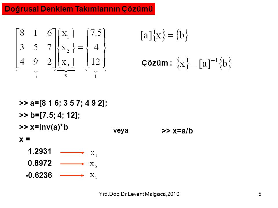Yrd.Doç.Dr.Levent Malgaca,20105 Doğrusal Denklem Takımlarının Çözümü Çözüm : >> a=[8 1 6; 3 5 7; 4 9 2]; >> b=[7.5; 4; 12]; >> x=inv(a)*b x = 1.2931 0.8972 -0.6236 >> x=a/b veya
