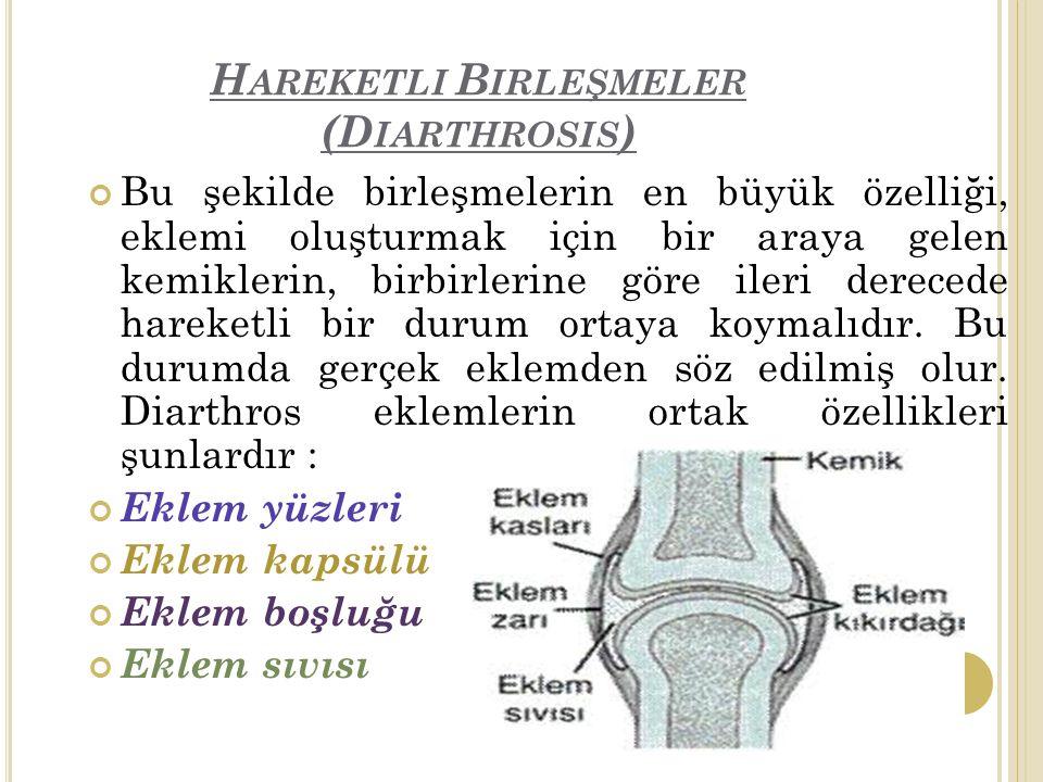 H AREKETLI B IRLEŞMELER (D IARTHROSIS ) Bu şekilde birleşmelerin en büyük özelliği, eklemi oluşturmak için bir araya gelen kemiklerin, birbirlerine göre ileri derecede hareketli bir durum ortaya koymalıdır.