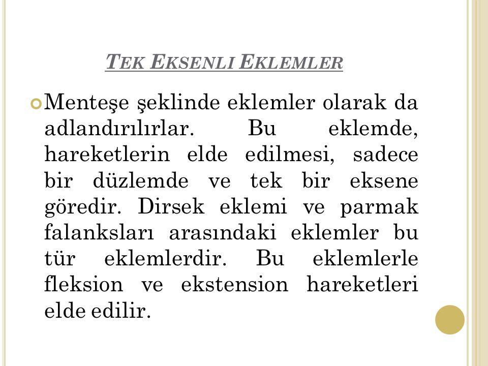 T EK E KSENLI E KLEMLER Menteşe şeklinde eklemler olarak da adlandırılırlar.