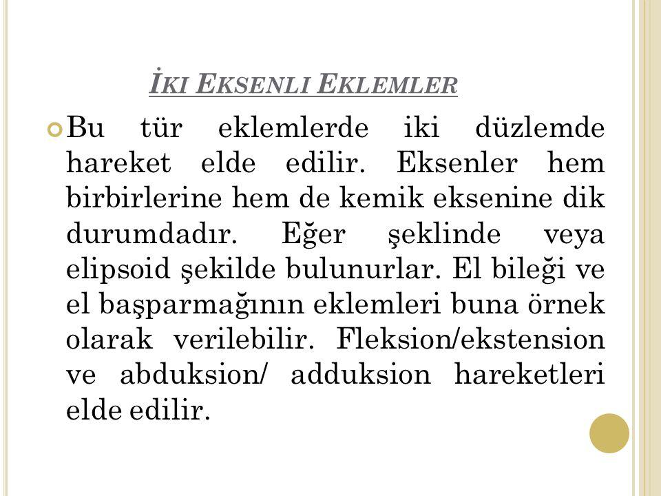İ KI E KSENLI E KLEMLER Bu tür eklemlerde iki düzlemde hareket elde edilir.