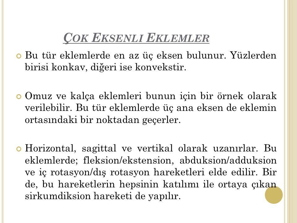 Ç OK E KSENLI E KLEMLER Bu tür eklemlerde en az üç eksen bulunur.