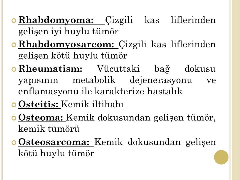 Rhabdomyoma: Çizgili kas liflerinden gelişen iyi huylu tümör Rhabdomyosarcom: Çizgili kas liflerinden gelişen kötü huylu tümör Rheumatism: Vücuttaki bağ dokusu yapısının metabolik dejenerasyonu ve enflamasyonu ile karakterize hastalık Osteitis: Kemik iltihabı Osteoma: Kemik dokusundan gelişen tümör, kemik tümörü Osteosarcoma: Kemik dokusundan gelişen kötü huylu tümör