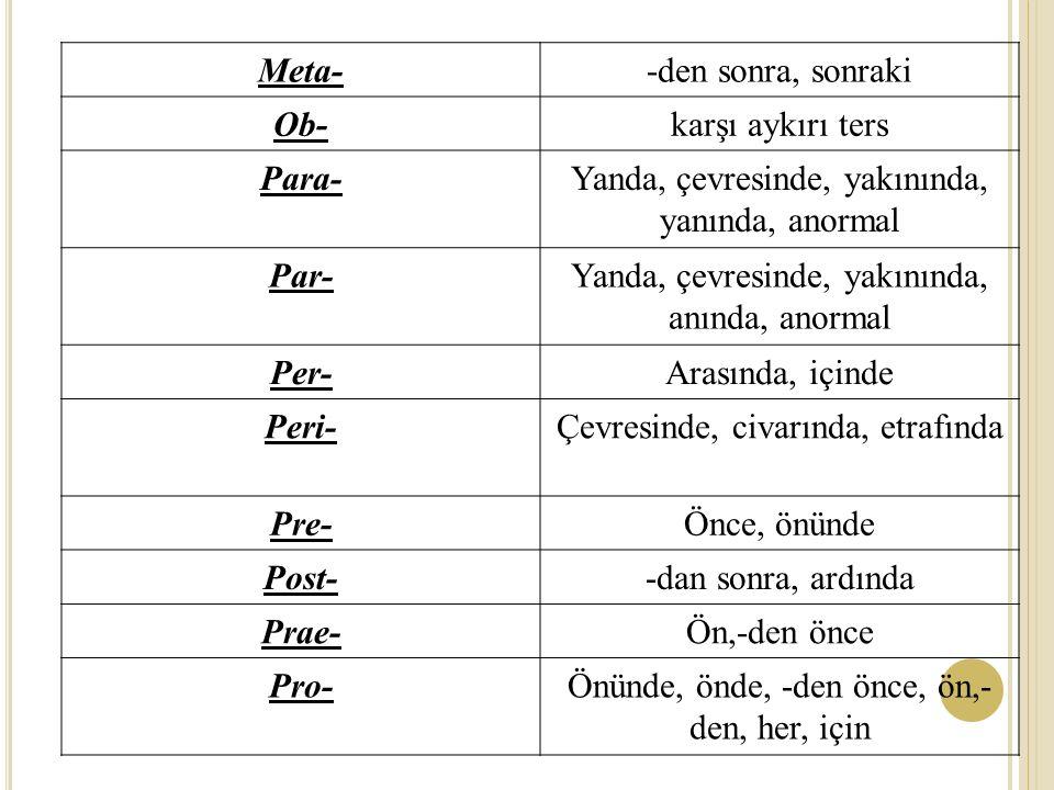Meta--den sonra, sonraki Ob-karşı aykırı ters Para-Yanda, çevresinde, yakınında, yanında, anormal Par-Yanda, çevresinde, yakınında, anında, anormal Per-Arasında, içinde Peri-Çevresinde, civarında, etrafında Pre-Önce, önünde Post--dan sonra, ardında Prae-Ön,-den önce Pro-Önünde, önde, -den önce, ön,- den, her, için