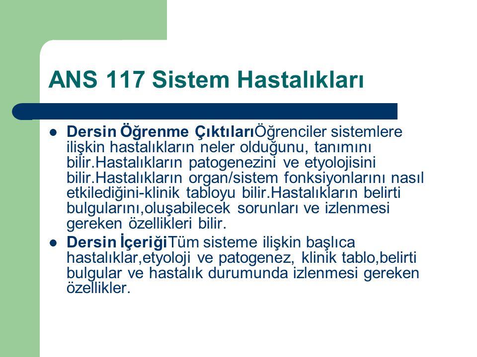 ANS 117 Sistem Hastalıkları 1Giriş-Hastalık Nedir?Nasıl oluşur.