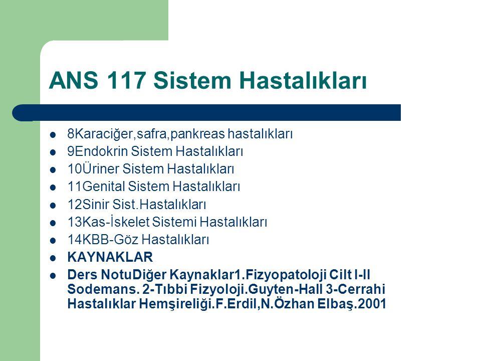 ANS 117 Sistem Hastalıkları 8Karaciğer,safra,pankreas hastalıkları 9Endokrin Sistem Hastalıkları 10Üriner Sistem Hastalıkları 11Genital Sistem Hastalı