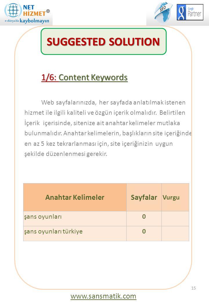 1/6: Content Keywords Web sayfalarınızda, her sayfada anlatılmak istenen hizmet ile ilgili kaliteli ve özgün içerik olmalıdır. Belirtilen İçerik içeri