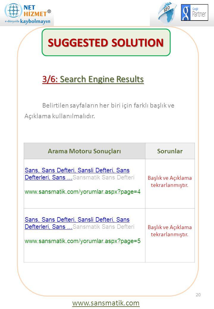 3/6: Search Engine Results Belirtilen sayfaların her biri için farklı başlık ve Açıklama kullanılmalıdır. 20 Arama Motoru SonuçlarıSorunlar Sans, Sans
