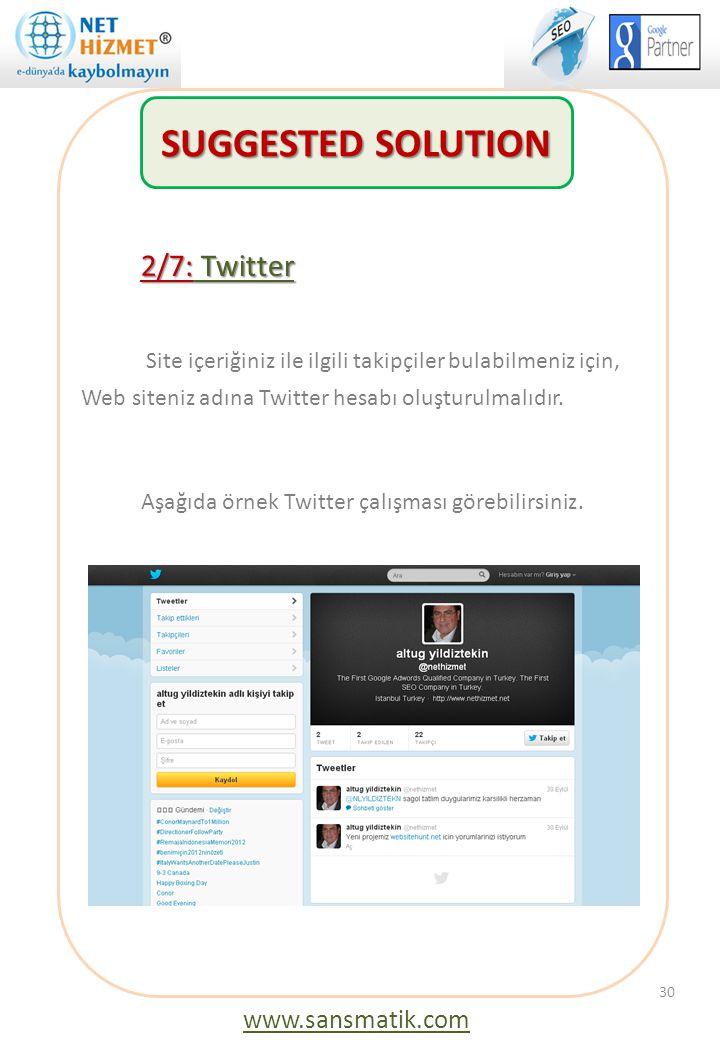 2/7: Twitter Site içeriğiniz ile ilgili takipçiler bulabilmeniz için, Web siteniz adına Twitter hesabı oluşturulmalıdır. Aşağıda örnek Twitter çalışma