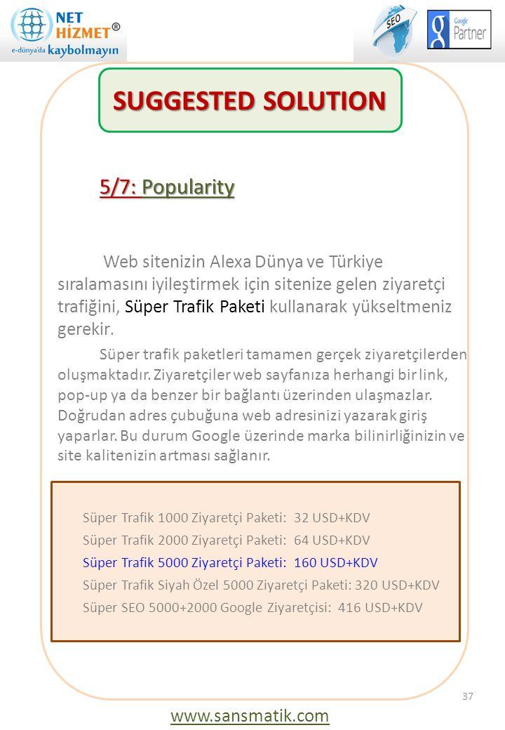 5/7: Popularity Web sitenizin Alexa Dünya ve Türkiye sıralamasını iyileştirmek için sitenize gelen ziyaretçi trafiğini, Süper Trafik Paketi kullanarak
