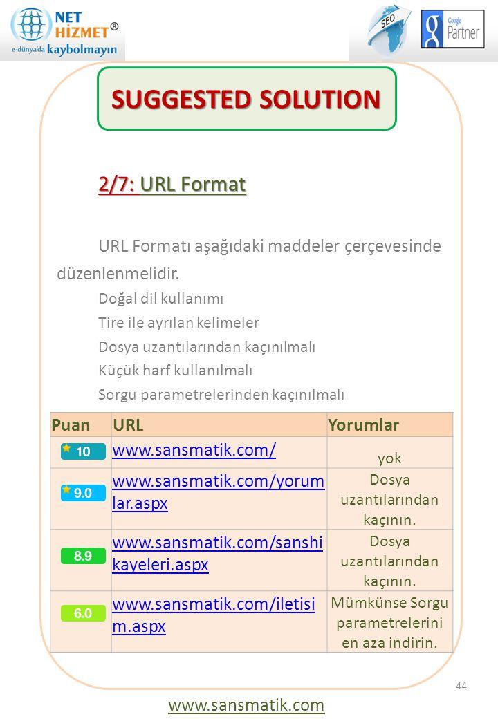 44 2/7: URL Format URL Formatı aşağıdaki maddeler çerçevesinde düzenlenmelidir. Doğal dil kullanımı Tire ile ayrılan kelimeler Dosya uzantılarından ka