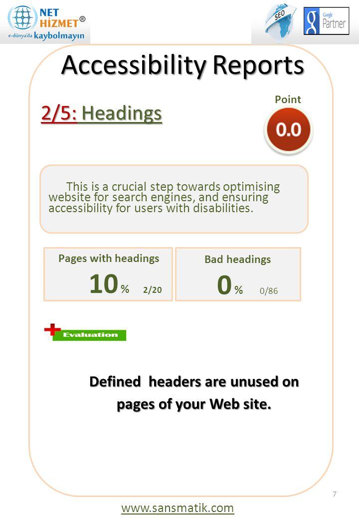 2/5: Headings Tüm sayfaların, içeriklerinde kullanacağınız başlıkları title ile uyumlu tutarak vereceğiniz başlıklara kodu eklemelisiniz.