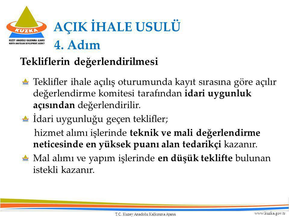 T.C. Kuzey Anadolu Kalkınma Ajansı www.kuzka.gov.tr AÇIK İHALE USULÜ Teklifler ihale açılış oturumunda kayıt sırasına göre açılır değerlendirme komite