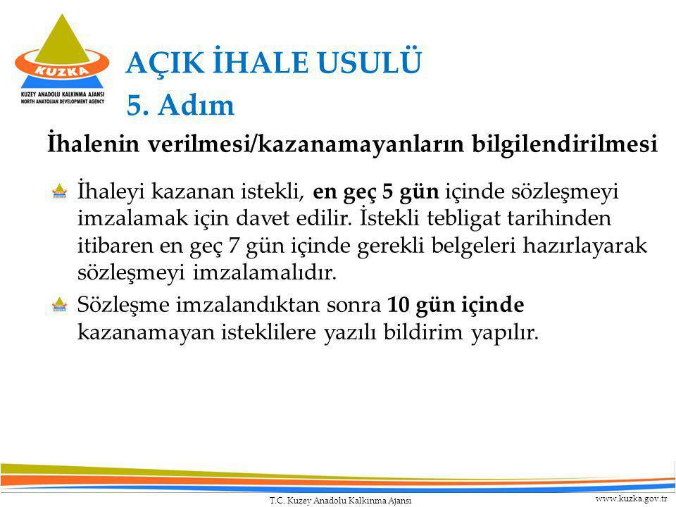 T.C. Kuzey Anadolu Kalkınma Ajansı www.kuzka.gov.tr AÇIK İHALE USULÜ İhaleyi kazanan istekli, en geç 5 gün içinde sözleşmeyi imzalamak için davet edil