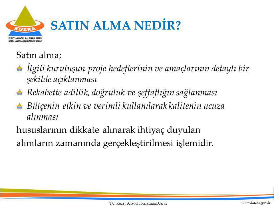 T.C. Kuzey Anadolu Kalkınma Ajansı www.kuzka.gov.tr SATIN ALMA NEDİR? Satın alma; İlgili kuruluşun proje hedeflerinin ve amaçlarının detaylı bir şekil