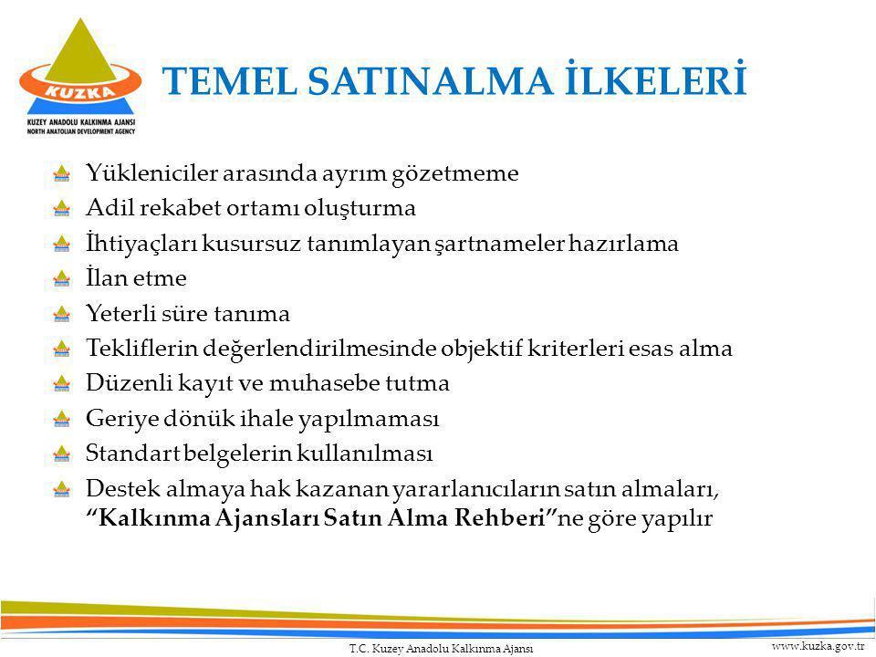 T.C. Kuzey Anadolu Kalkınma Ajansı www.kuzka.gov.tr TEMEL SATINALMA İLKELERİ Yükleniciler arasında ayrım gözetmeme Adil rekabet ortamı oluşturma İhtiy