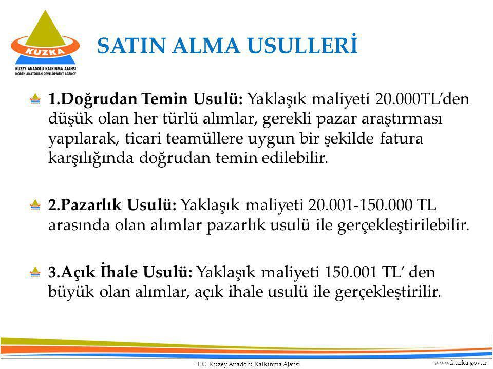 T.C. Kuzey Anadolu Kalkınma Ajansı www.kuzka.gov.tr SATIN ALMA USULLERİ 1.Doğrudan Temin Usulü: Yaklaşık maliyeti 20.000TL'den düşük olan her türlü al
