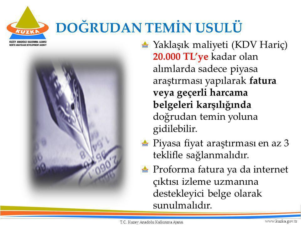 T.C. Kuzey Anadolu Kalkınma Ajansı www.kuzka.gov.tr DOĞRUDAN TEMİN USULÜ Yaklaşık maliyeti (KDV Hariç) 20.000 TL'ye kadar olan alımlarda sadece piyasa