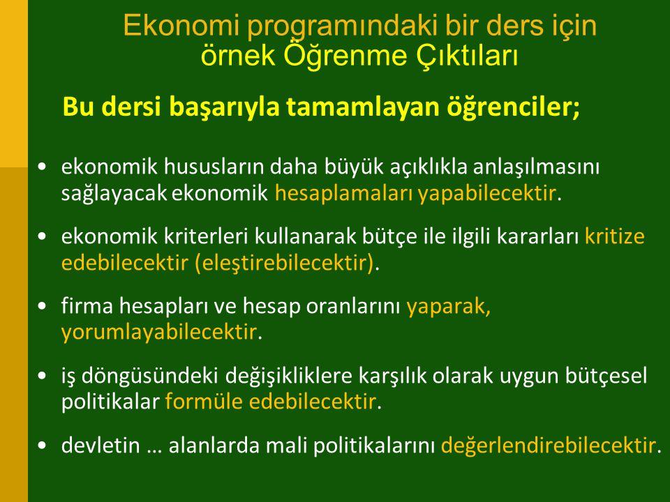 Ekonomi programındaki bir ders için örnek Öğrenme Çıktıları ekonomik hususların daha büyük açıklıkla anlaşılmasını sağlayacak ekonomik hesaplamaları y