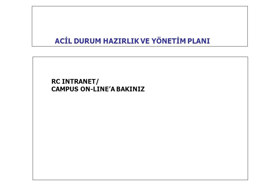 ACİL DURUM HAZIRLIK VE YÖNETİM PLANI RC INTRANET/ CAMPUS ON-LINE'A BAKINIZ