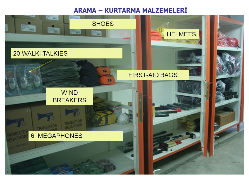 6 MEGAPHONES 20 WALKI TALKIES WIND BREAKERS FIRST-AID BAGS SHOES HELMETS ARAMA – KURTARMA MALZEMELERİ