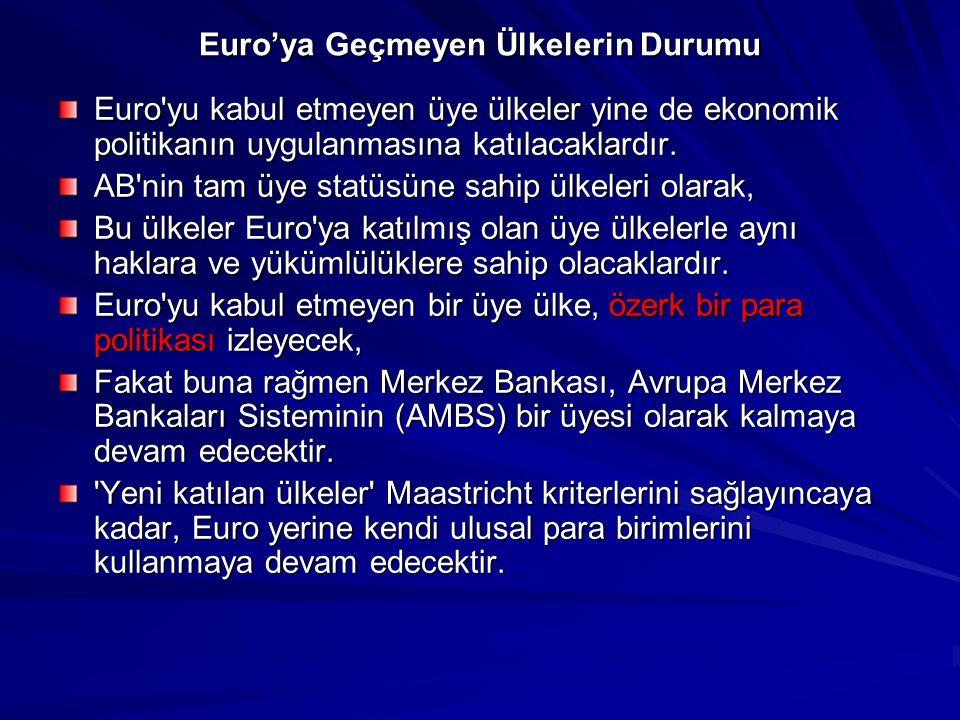 Euro'ya Geçmeyen Ülkelerin Durumu Euro'yu kabul etmeyen üye ülkeler yine de ekonomik politikanın uygulanmasına katılacaklardır. AB'nin tam üye statüsü