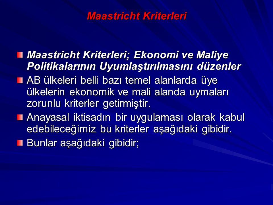 Maastricht Kriterleri Maastricht Kriterleri; Ekonomi ve Maliye Politikalarının Uyumlaştırılmasını düzenler AB ülkeleri belli bazı temel alanlarda üye