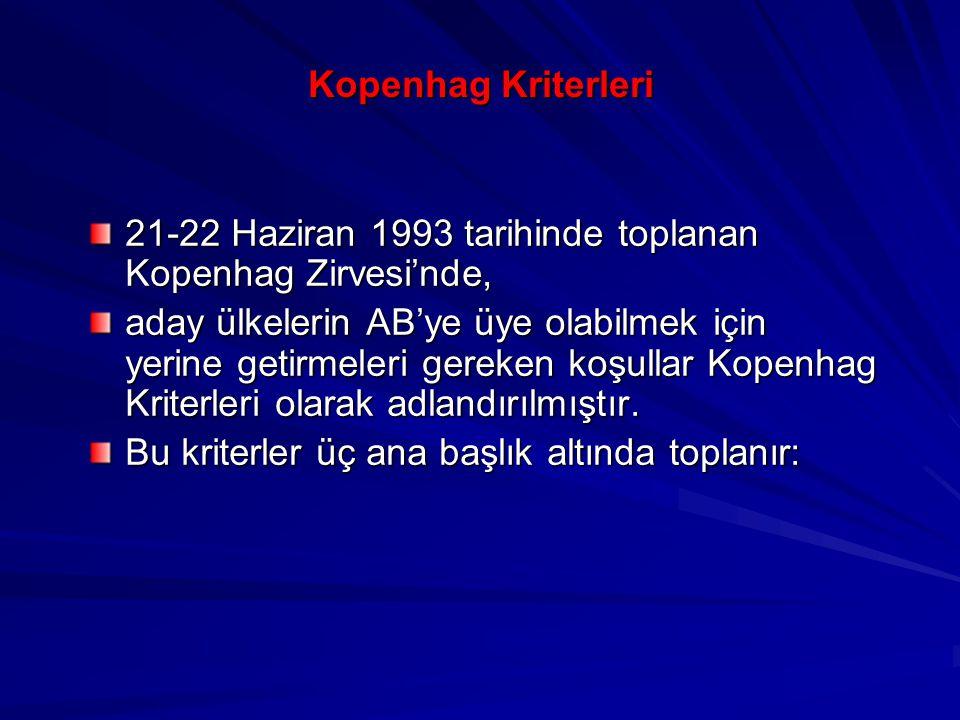 Kopenhag Kriterleri 21-22 Haziran 1993 tarihinde toplanan Kopenhag Zirvesi'nde, aday ülkelerin AB'ye üye olabilmek için yerine getirmeleri gereken koş