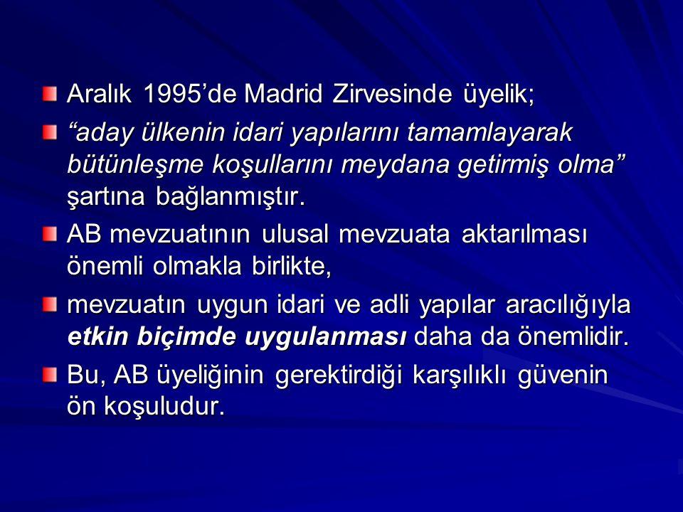 """Aralık 1995'de Madrid Zirvesinde üyelik; """"aday ülkenin idari yapılarını tamamlayarak bütünleşme koşullarını meydana getirmiş olma"""" şartına bağlanmıştı"""