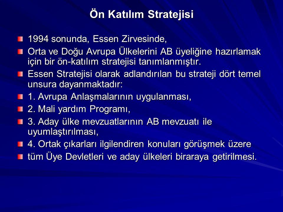 Ön Katılım Stratejisi 1994 sonunda, Essen Zirvesinde, Orta ve Doğu Avrupa Ülkelerini AB üyeliğine hazırlamak için bir ön-katılım stratejisi tanımlanmı