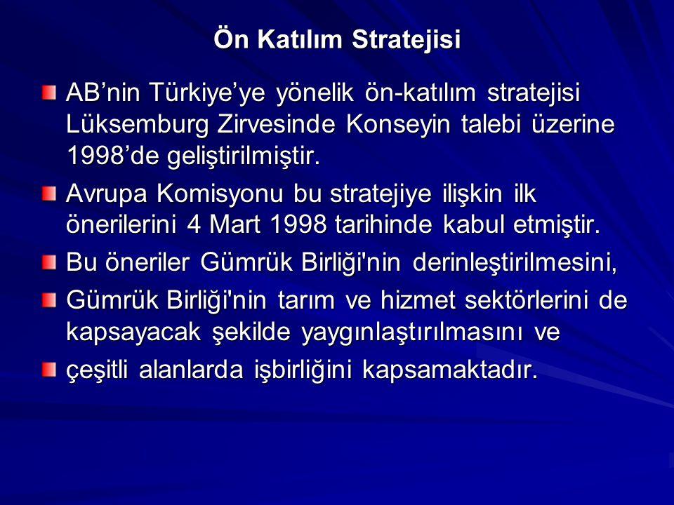 Ön Katılım Stratejisi AB'nin Türkiye'ye yönelik ön-katılım stratejisi Lüksemburg Zirvesinde Konseyin talebi üzerine 1998'de geliştirilmiştir. Avrupa K