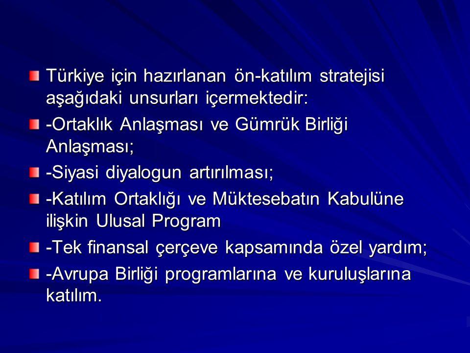 Türkiye için hazırlanan ön-katılım stratejisi aşağıdaki unsurları içermektedir: -Ortaklık Anlaşması ve Gümrük Birliği Anlaşması; -Siyasi diyalogun art