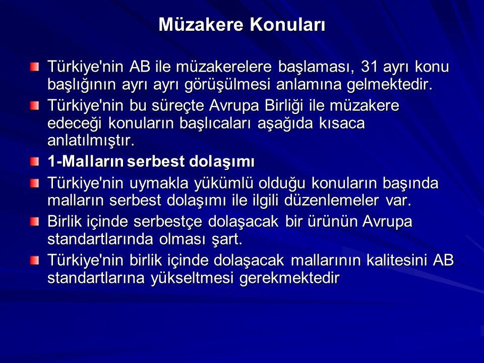 Müzakere Konuları Türkiye'nin AB ile müzakerelere başlaması, 31 ayrı konu başlığının ayrı ayrı görüşülmesi anlamına gelmektedir. Türkiye'nin bu süreçt