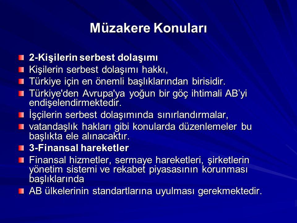 Müzakere Konuları 2-Kişilerin serbest dolaşımı Kişilerin serbest dolaşımı hakkı, Türkiye için en önemli başlıklarından birisidir. Türkiye'den Avrupa'y