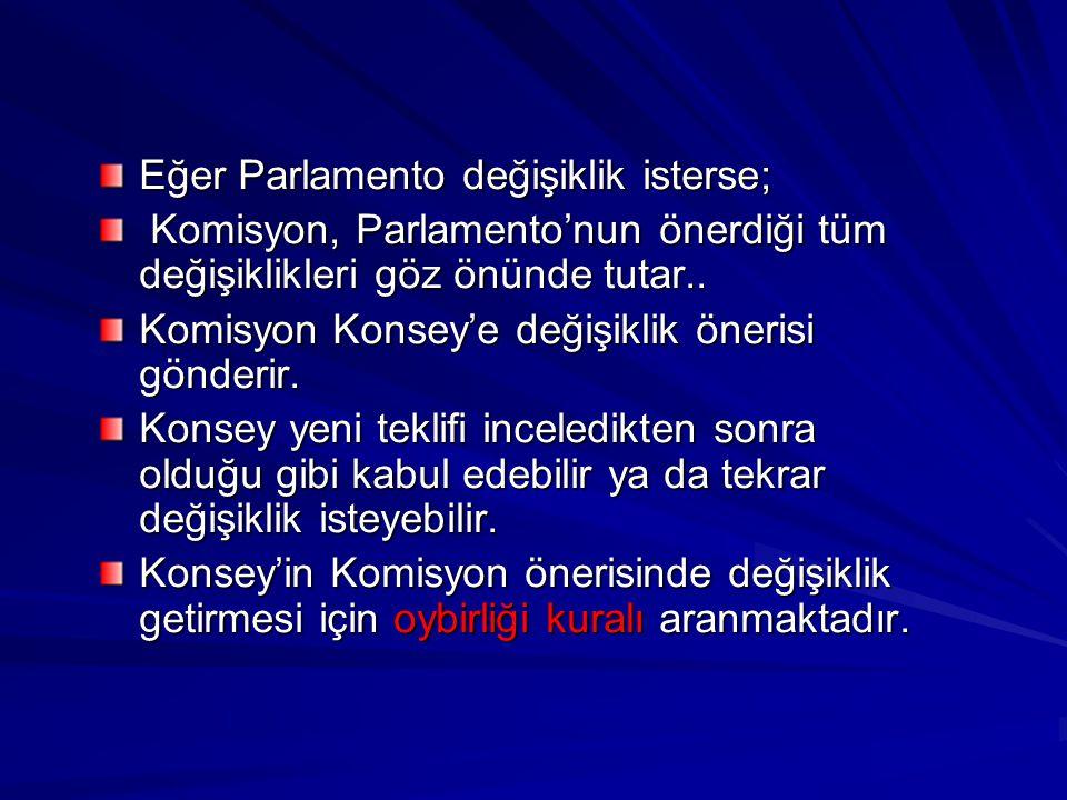 Eğer Parlamento değişiklik isterse; Komisyon, Parlamento'nun önerdiği tüm değişiklikleri göz önünde tutar.. Komisyon, Parlamento'nun önerdiği tüm deği