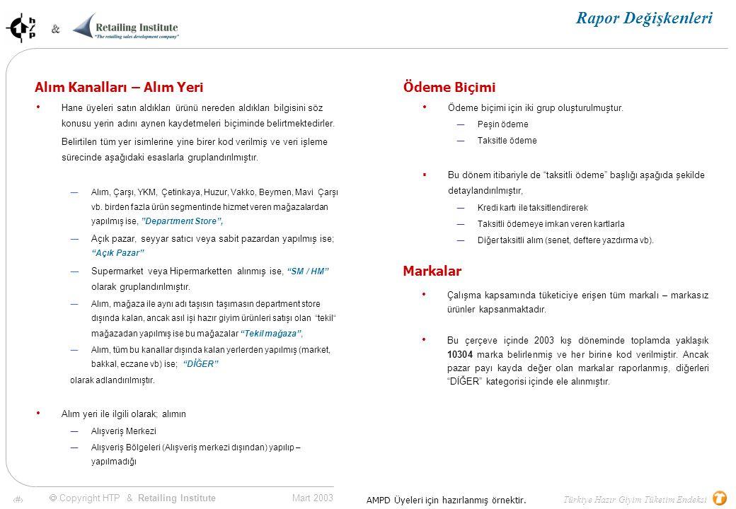 10 Mart 2003 & & Türkiye Hazır Giyim Tüketim Endeksi  Copyright HTP & Retailing Institute AMPD Üyeleri için hazırlanmış örnektir.