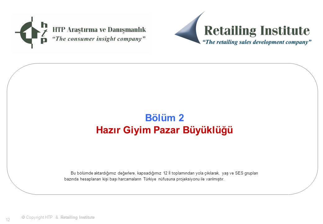  Copyright HTP & Retailing Institute 12 Bölüm 2 Hazır Giyim Pazar Büyüklüğü Bu bölümde aktardığımız değerlere, kapsadığımız 12 İl toplamından yola çıkılarak, yaş ve SES grupları bazında hesaplanan kişi başı harcamaların Türkiye nüfusuna projeksiyonu ile varılmıştır.