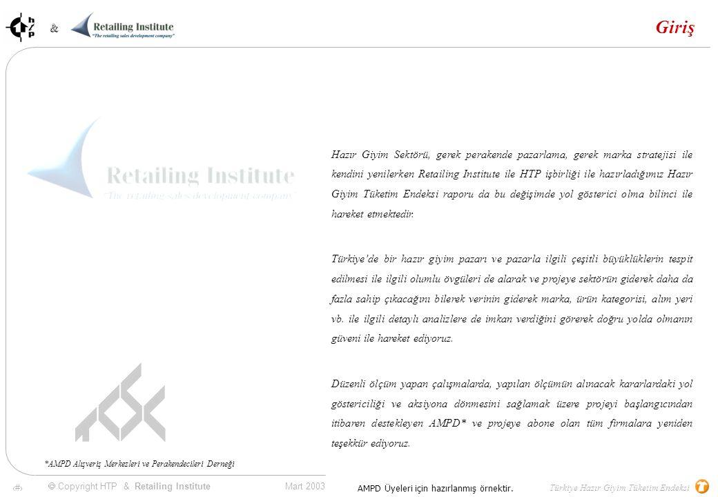 65 Mart 2003 & & Türkiye Hazır Giyim Tüketim Endeksi  Copyright HTP & Retailing Institute AMPD Üyeleri için hazırlanmış örnektir.