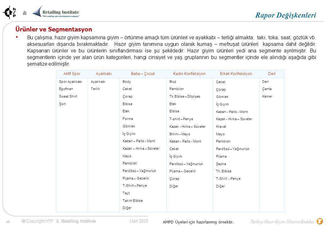 9 Mart 2003 & & Türkiye Hazır Giyim Tüketim Endeksi  Copyright HTP & Retailing Institute AMPD Üyeleri için hazırlanmış örnektir.